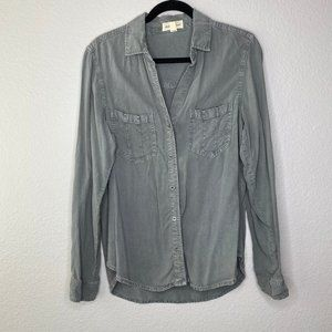 Cloth & Stone Womens Army Green Button Front Shirt